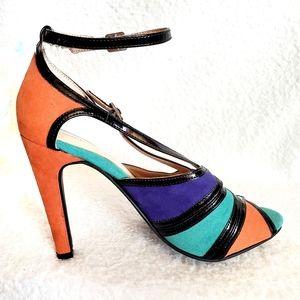 Vintage 80's Sole Society Colorblock Sandal Heels